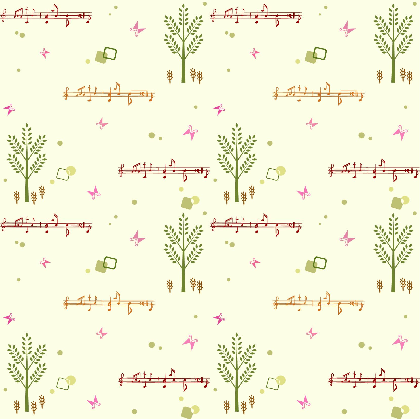 几何昆虫蝴蝶音符图案印花矢量图服装纺织数码印花花型素材-POP花型网