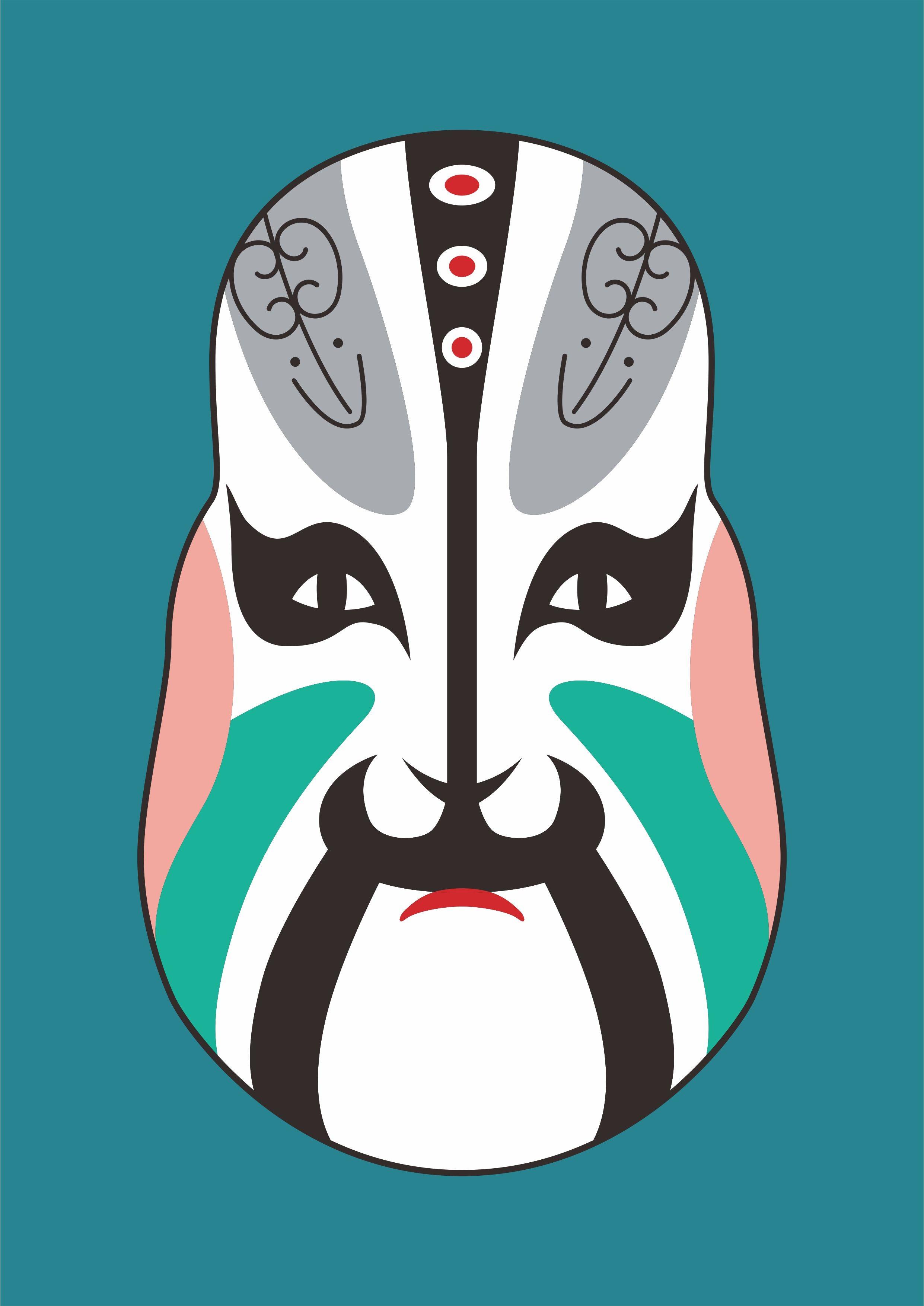 传统文化京剧脸谱印花矢量图服装裁片T恤烫图印花花型素材-POP花型网