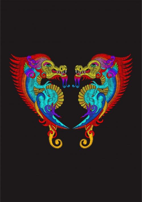 几何图案飞龙印花矢量图服装裁片T恤烫图印花花型素材-POP花型网