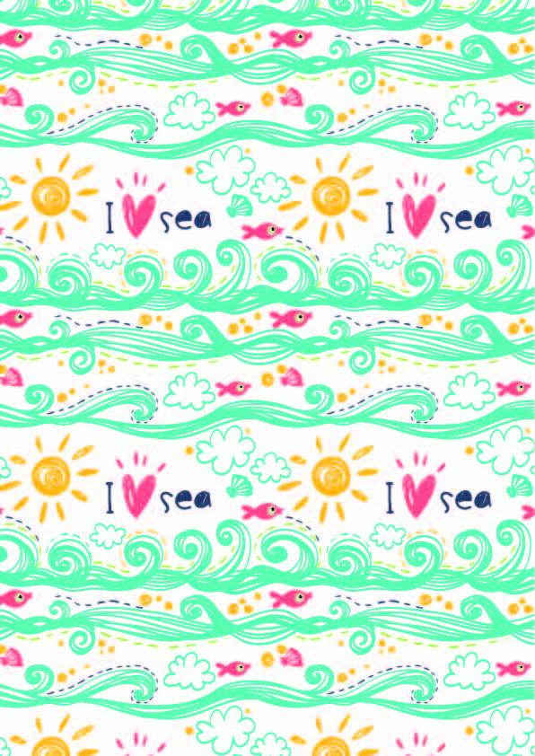 卡通海洋风字母海浪印花矢量图服装纺织数码印花花型素材-POP花型网