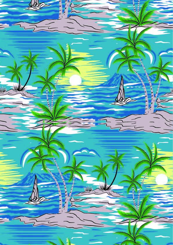 夏日风椰子树印花矢量图服装纺织数码印花花型素材-POP花型网