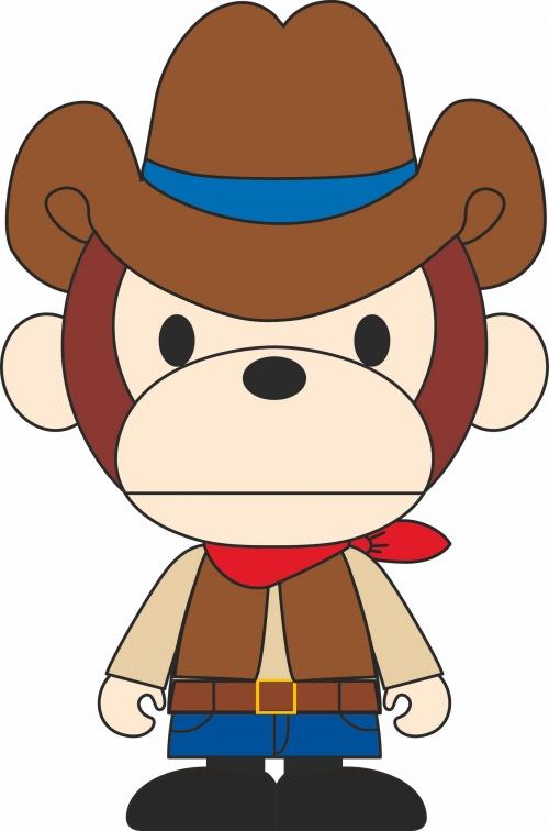 可爱卡通猴子牛仔服装裁片T恤印花烫图印花花型素材-POP花型网