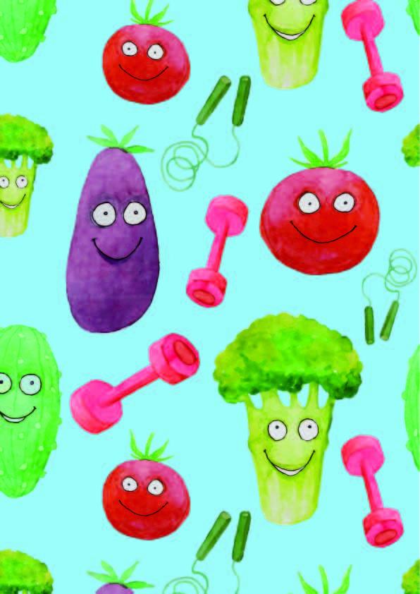 卡通蔬菜水果印花矢量图服装纺织数码印花花型素材-POP花型网