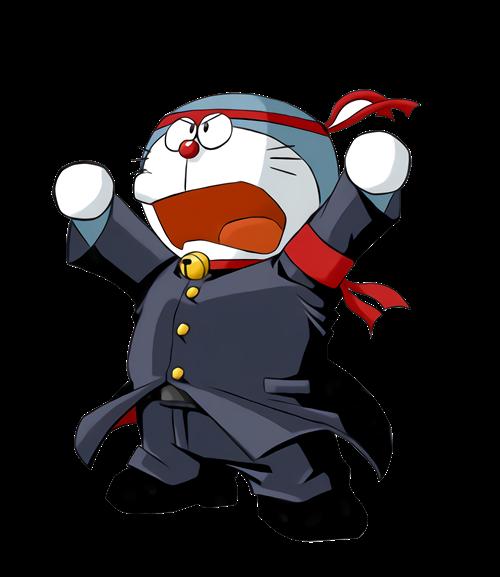 哆啦A梦押忍应援团印花图案服装裁片T恤烫图印花花型素材-POP花型网