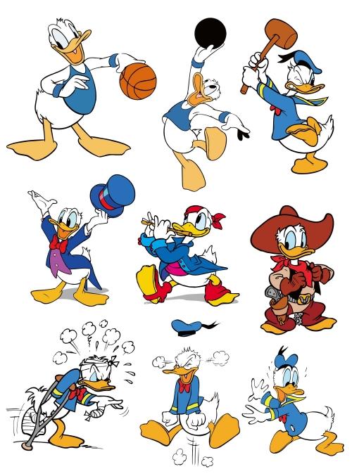 卡通动漫唐老鸭印花图案服装裁片T恤烫图印花花型素材-POP花型网