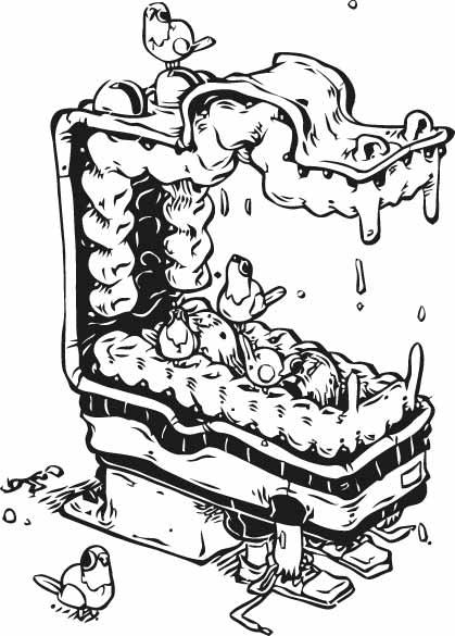卡通动物飞鸟印花矢量图服装裁片T恤烫图印花花型素材-POP花型网