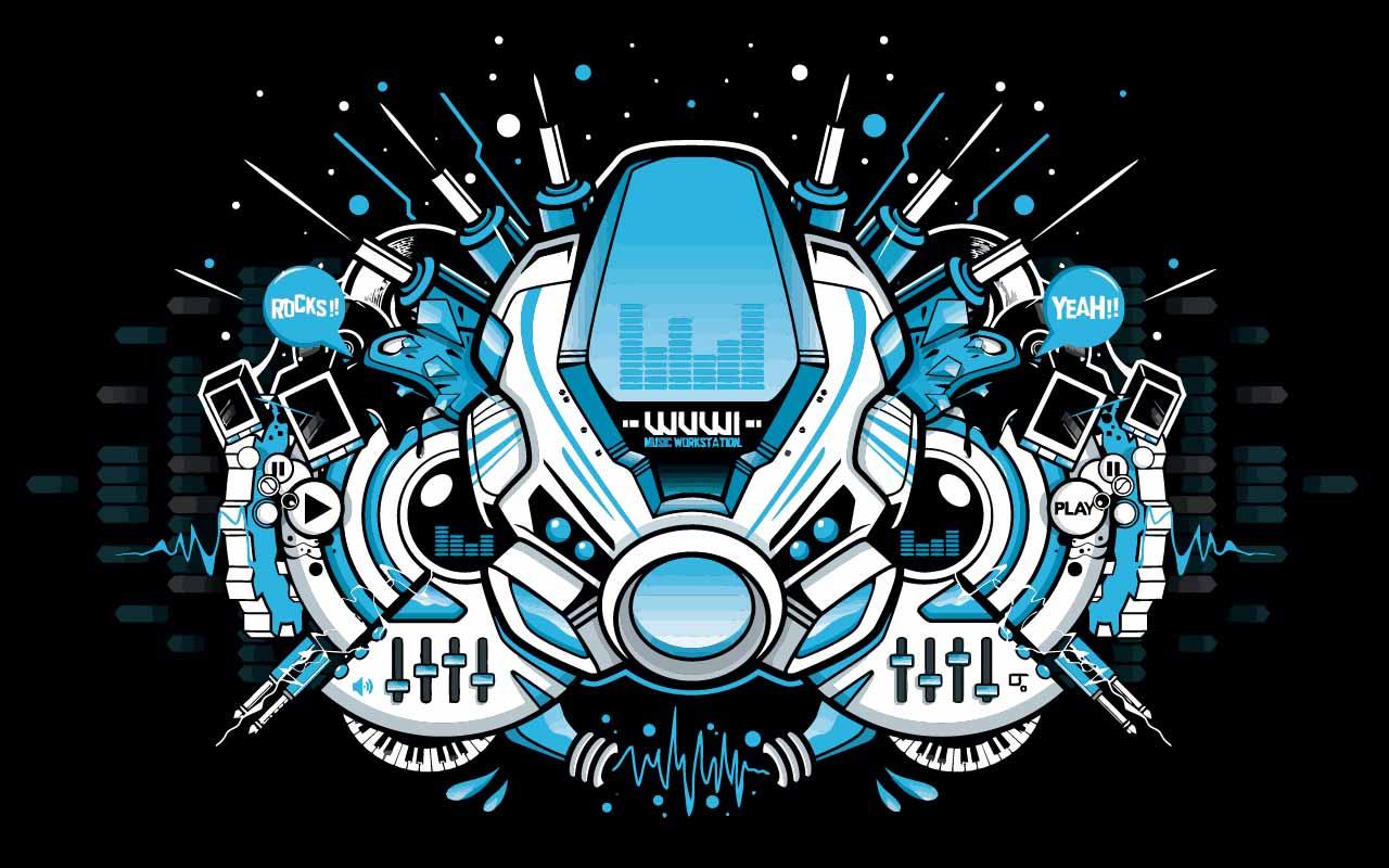 卡通机器人字母印花矢量图服装裁片T恤烫图印花花型素材-POP花型网