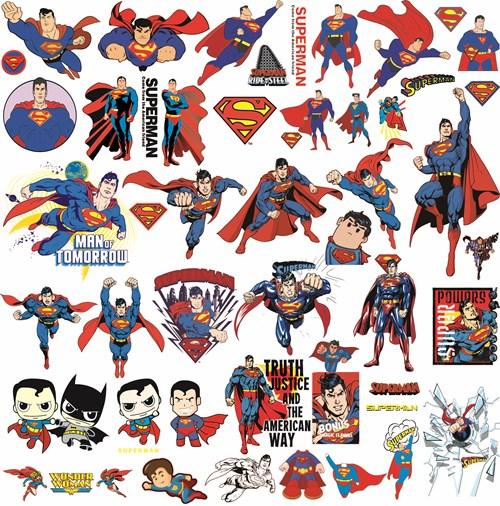 卡通动漫 超人印花图案服装裁片T恤印花花型素材-POP花型网