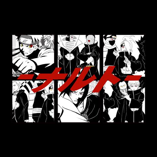卡通动漫火影忍者印花图案服装裁片T恤印花花型素材-POP花型网