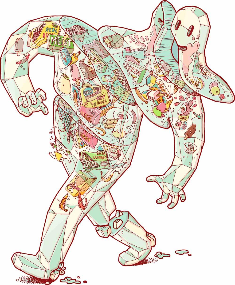 卡通抽象人物印花矢量图服装裁片T恤烫图印花花型素材-POP花型网