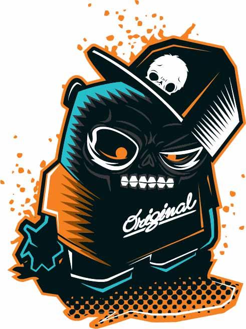 卡通人物图案嘻哈风印花矢量图服装裁片T恤烫图印花花型素材-POP花型网