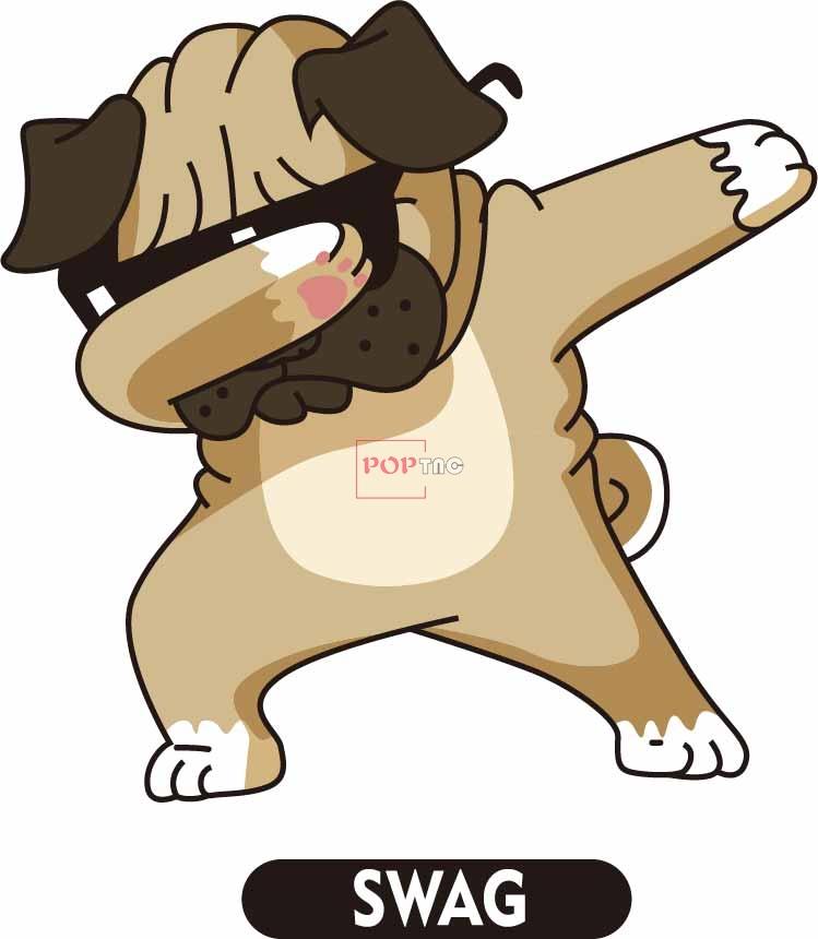 卡通动物小狗字母SWAG印花矢量图服装纺织数码印花花型素材-POP花型网