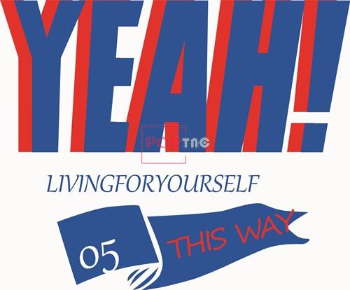 字母图案YEAH印花矢量图服装裁片T恤烫图印花花型素材-POP花型网