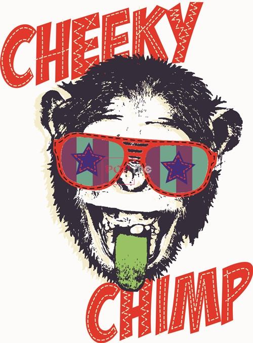 潮牌猩猩字母CHEEKY印花矢量图服装裁片T恤烫图印花花型素材-POP花型网