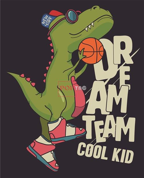 卡通潮牌恐龙篮球字母印花矢量图服装裁片T恤烫图印花花型素材-POP花型网