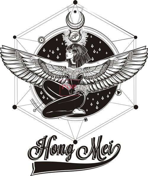 几何图案天使翅膀字母印花矢量图服装裁片T恤烫图印花花型素材-POP花型网