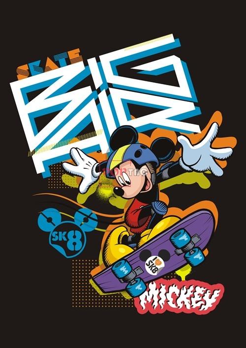 卡通动漫米奇字母潮牌印花矢量图服装裁片T恤烫图印花花型素材-POP花型网