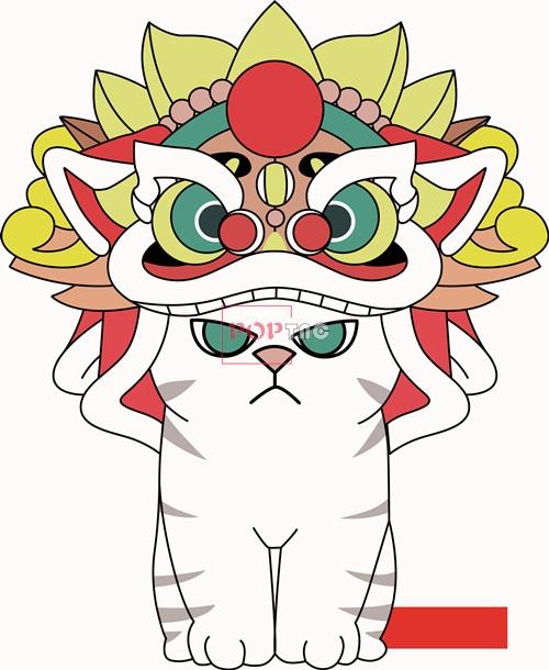 卡通动物猫咪舞狮印花矢量图服装裁片T恤烫图印花花型素材-POP花型网