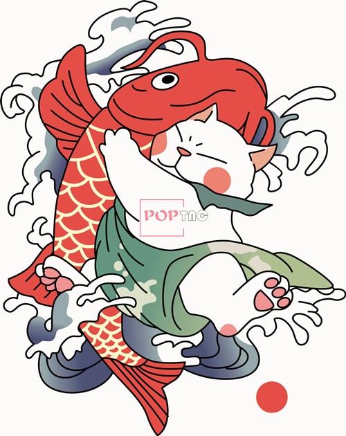 卡通动物鲤鱼猫潮图印花矢量图服装裁片T恤烫图印花花型素材-POP花型网