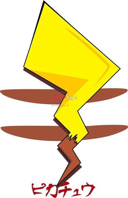 卡通动漫皮卡丘尾巴印花矢量图服装裁片T恤烫图印花花型素材-POP花型网