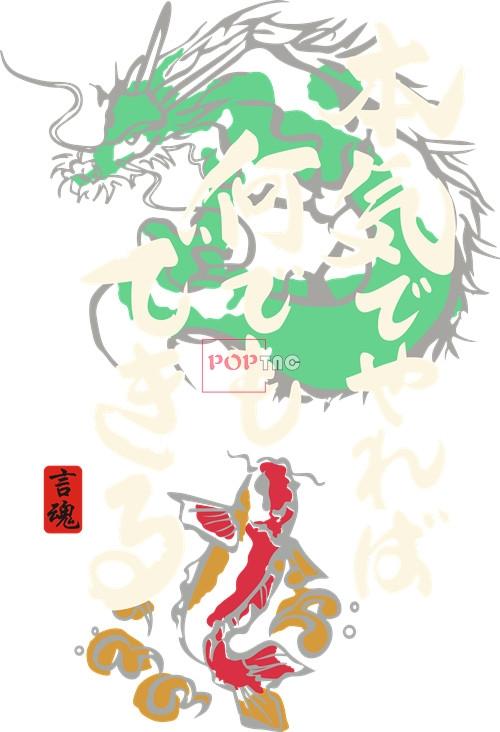 日式风锦鲤飞龙印花矢量图服装裁片T恤烫图印花花型素材-POP花型网