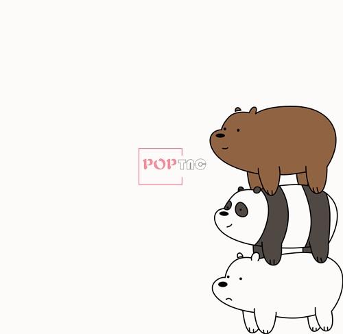 卡通动物三只熊印花矢量图服装裁片T恤烫图印花花型素材-POP花型网