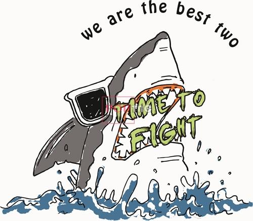 卡通动物海洋鲨鱼字母印花矢量图服装裁片T恤烫图印花花型素材-POP花型网