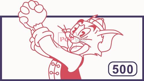 卡通动漫汤姆猫印花矢量图服装裁片T恤烫图印花花型素材-POP花型网