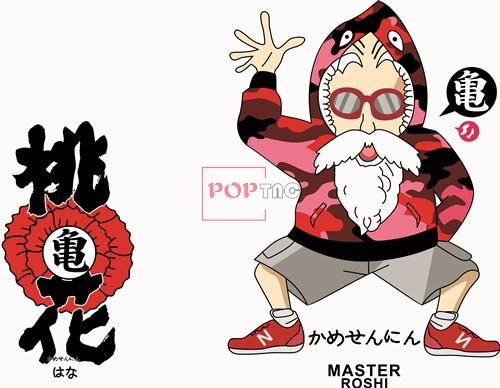 卡通动漫桃花龟仙人印花矢量图服装裁片T恤烫图印花花型素材-POP花型网
