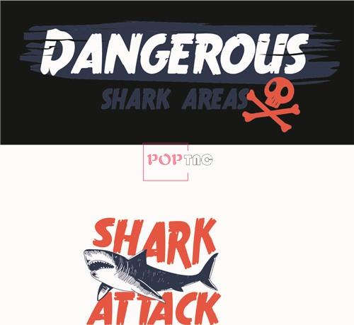 几何图案鲨鱼骷髅头字母印花矢量图服装裁片T恤烫图印花花型素材-POP花型网