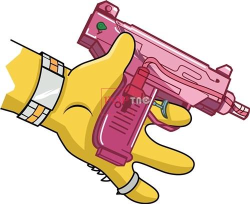 卡通动漫辛普森水枪潮牌印花矢量图服装裁片T恤烫图印花花型素材-POP花型网