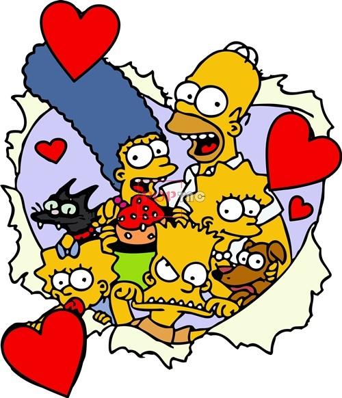 卡通动漫辛普森一家爱心潮牌印花矢量图服装裁片T恤烫图印花花型素材-POP花型网