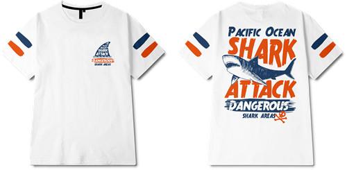 字母涂鸦动物鲨鱼印花矢量图服装裁片T恤全身印班服印花素材-POP花型网