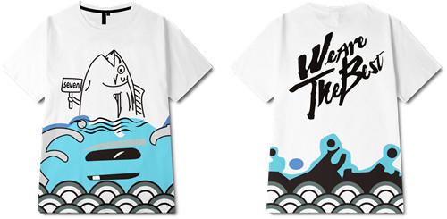 卡通图案海浪咸鱼字母印花图案服装裁片T恤全身印印花花型素材-POP花型网