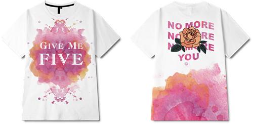 色彩涂鸦字母玫瑰花印花图案服装裁片T恤全身印印花花型素材-POP花型网