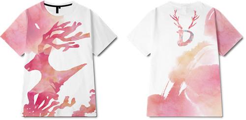 色彩拼接驯鹿印花图案服装裁片T恤全身印印花花型素材-POP花型网
