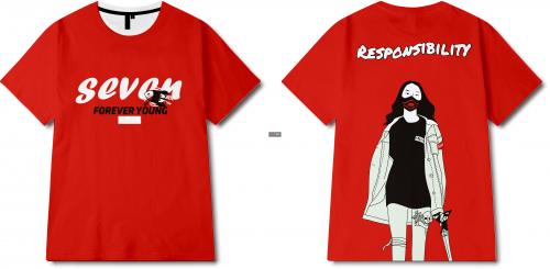字母人物几何印花图案服装裁片T恤全身印印花花型素材-POP花型网