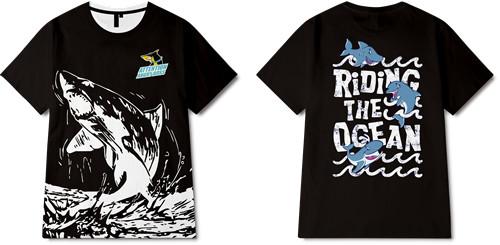 海洋动物鲨鱼字母印花图案服装裁片T恤全身印印花花型素材-POP花型网