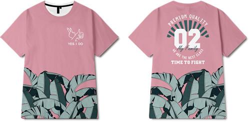 热带风树叶字母印花图案服装裁片T恤全身印印花素材-POP花型网