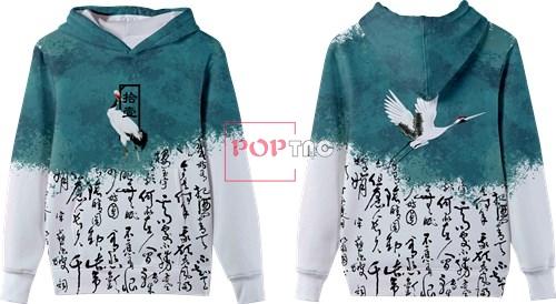 中国风文字丹顶鹤印花图案服装裁片T恤卫衣全身印印花素材-POP花型网