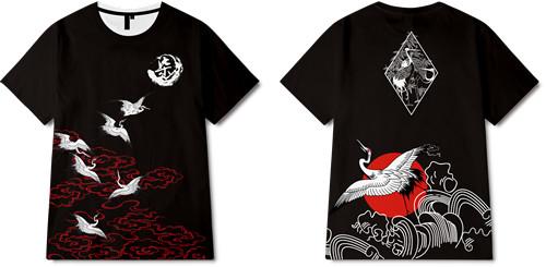 中国风祥云仙鹤印花图案服装裁片T恤全身印印花花型素材-POP花型网
