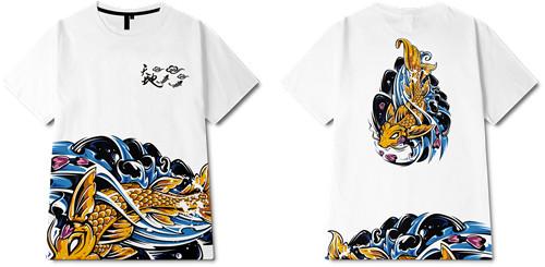 中国风浪花锦鲤印花图案服装裁片T恤全身印印花花型素材-POP花型网