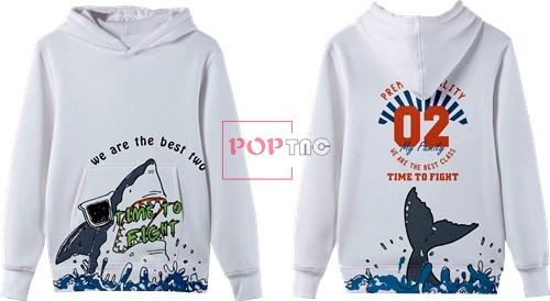 卡通动物鲨鱼字母印花图案服装裁片T恤卫衣班服全身印印花花型素材-POP花型网