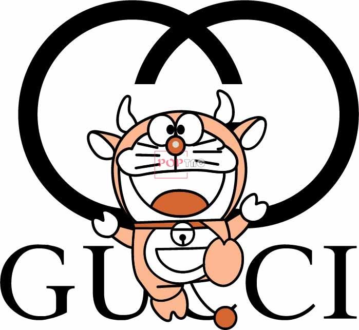潮牌字母GUCCI哆啦A梦牛角印花图案服装裁片T恤烫图印花花型素材-POP花型网