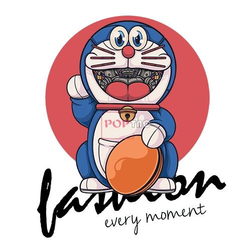 卡通动漫机器人哆啦A梦铜锣烧字母印花图案服装裁片T恤烫图印花花型素材-POP花型网