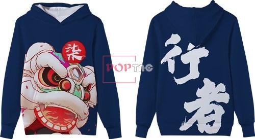 中国风舞狮印花图案服装裁片T恤卫衣全身印印花花型素材-POP花型网
