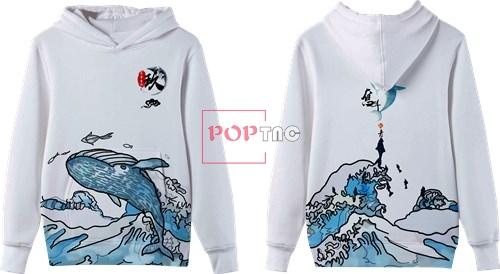 卡通动物鲸鱼海浪印花图案服装裁片T恤卫衣全身印印花花型素材-POP花型网