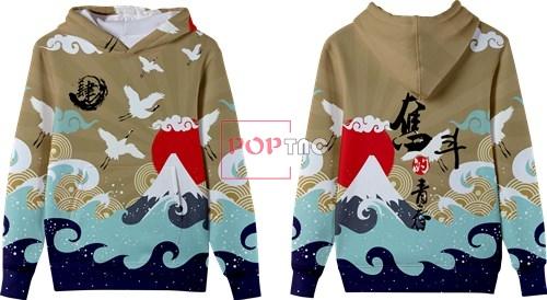 中国风海浪仙鹤印花图案服装裁片T恤卫衣全身印印花花型素材-POP花型网