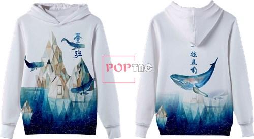 海洋冰川鲸鱼印花图案服装裁片T恤卫衣班服全身印印花花型素材-POP花型网