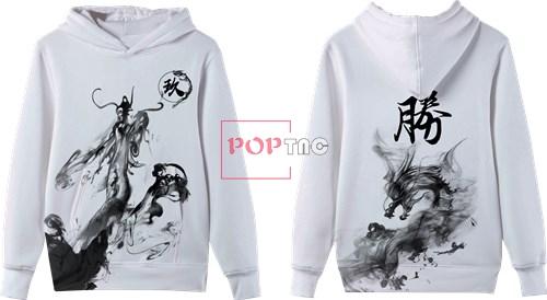水墨风中国龙印花图案服装裁片T恤卫衣全身印印花花型素材-POP花型网